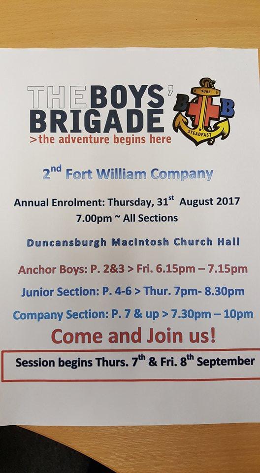 Boys Brigade Enrolment @ Duncansburgh Church Hall